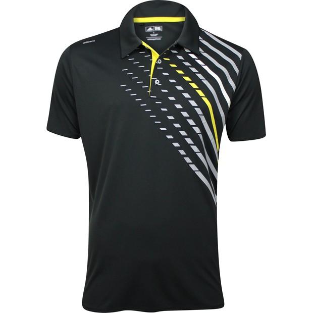 Nwt adidas adizero chest print polo black vivid yellow for Yellow golf polo shirts