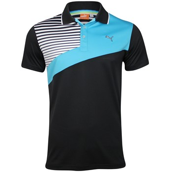Puma Colorblock Stripe Tech Shirt Polo Short Sleeve Apparel