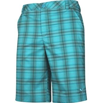 Puma Blue Plaid Tech Shorts Flat Front Apparel