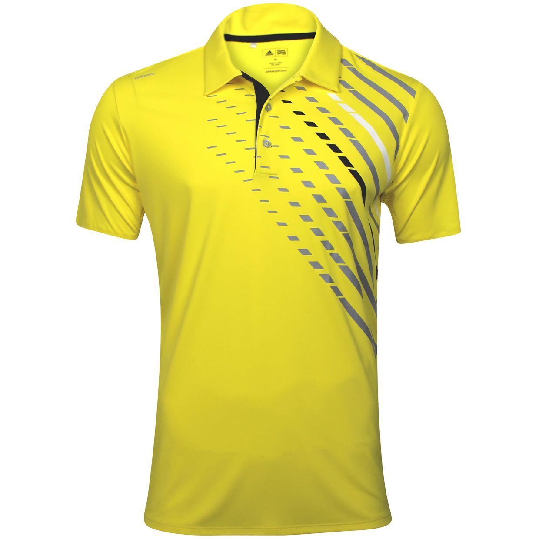 nwt adidas adizero chest print polo vivid yellow black