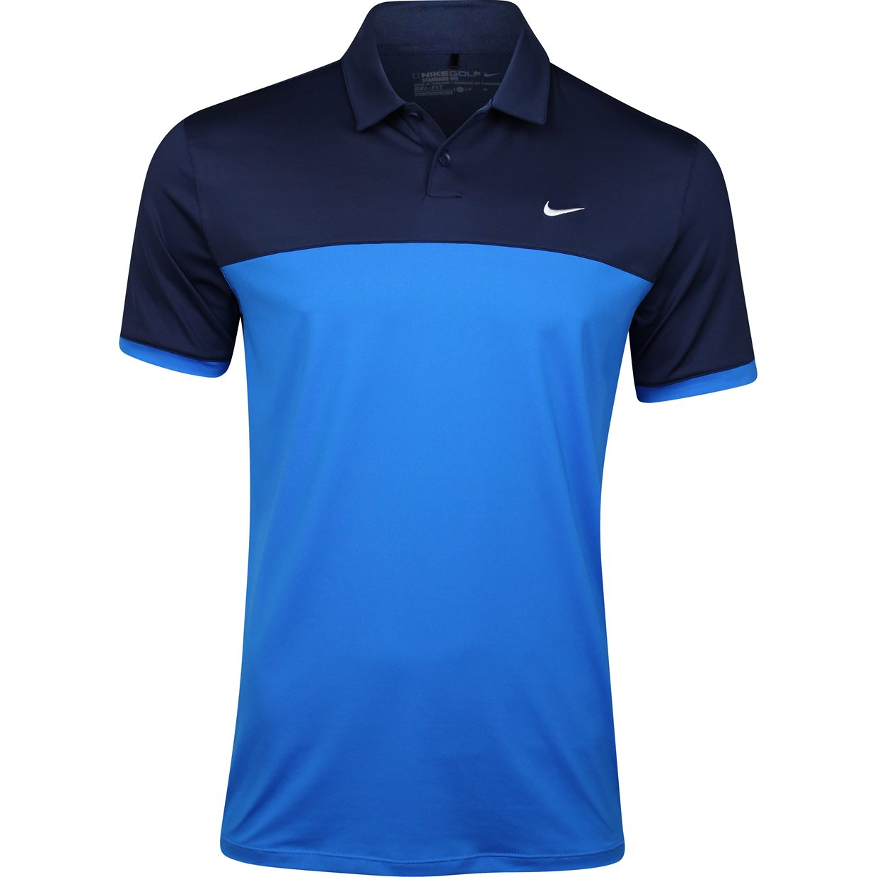 Nike icon color block shirt apparel xl midnight navy photo for Navy blue and white nike shirt