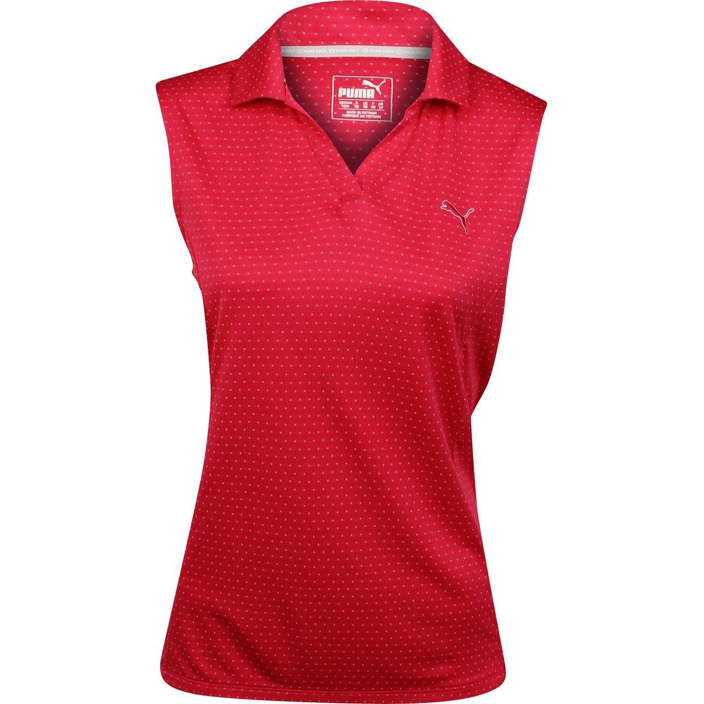 womens puma polka stripe sleeveless rose red golf shirt