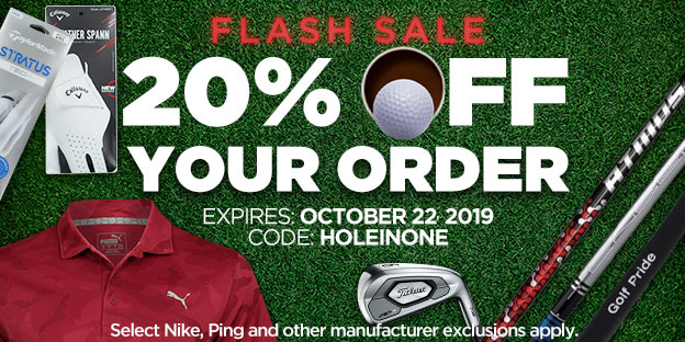 Flash Sale - 20% Off Your Order with Code: HOLEINONE. Expires 10/31/2019.