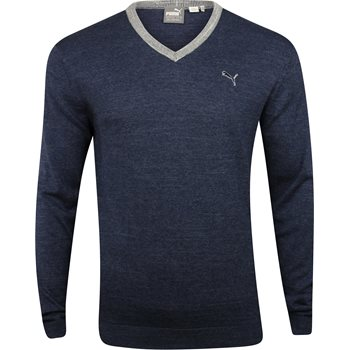 Puma Solid Knit Sweater V-Neck Apparel