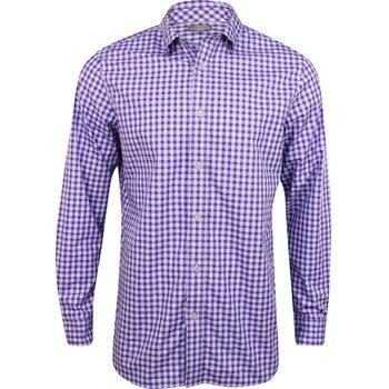 Ashworth Windowpane Check Woven Shirt Polo Long Sleeve Apparel