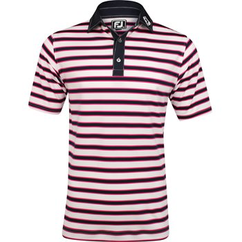 FootJoy Stretch Lisle Multi-Stripe Tour Logo Self Collar Shirt Polo Short Sleeve Apparel