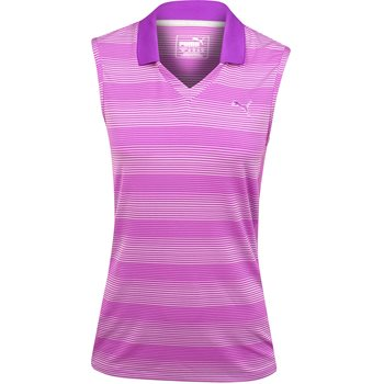 Puma Denise Stripe Sleeveless Shirt Polo Short Sleeve Apparel