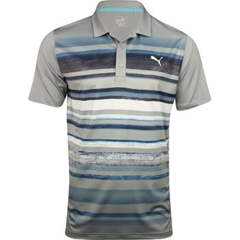 Puma Washed Stripe PWRCool Shirt Polo Short Sleeve Apparel
