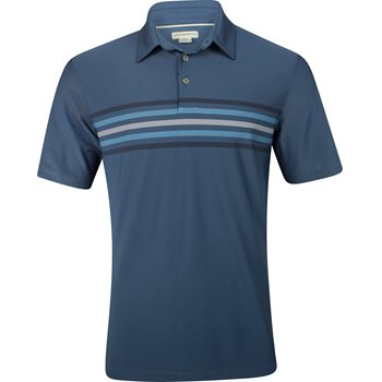 Ashworth Stretch Pique 2-Tone Chest Stripe Shirt Polo Short Sleeve Apparel